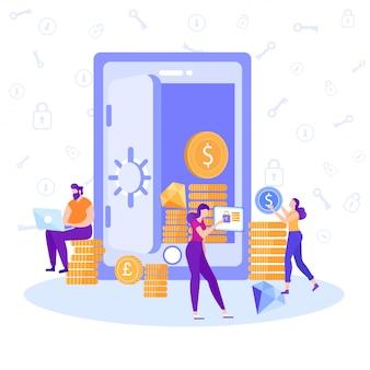 Aplicativo bancário on-line para anúncio de moeda de controle