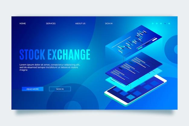 Aplicativo da bolsa de valores - página de destino