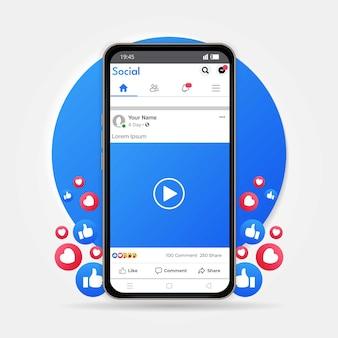 Aplicativo da página do facebook no smartphone