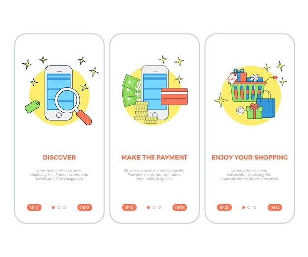 Aplicativo da tela do produto do carrinho de compras aplicativo de busca e pagamento