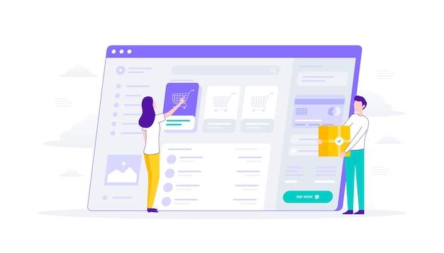 Aplicativo da web de produto de comércio eletrônico, pagamento com cartão de crédito, caixa de produto trazida pelo homem, ilustração plana