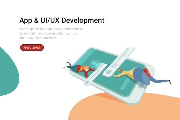 Aplicativo de aplicativo ui ux design conceito de desenvolvimento homem e mulher em desenvolvimento