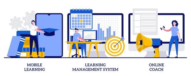 Aplicativo de aprendizagem móvel, conceito de coach online com ilustração de pequenas pessoas