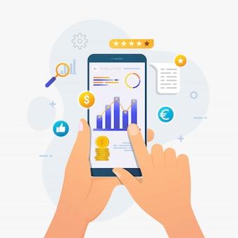 Aplicativo de avaliação de negócios no conceito de design do smartphone
