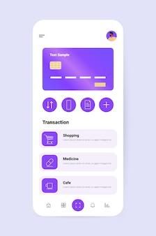 Aplicativo de banco móvel com cartão de crédito na tela do smartphone conceito de aplicativo financeiro de pagamentos eletrônicos