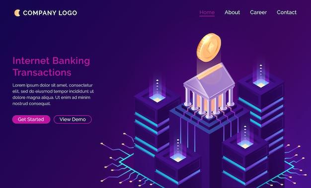 Aplicativo de banco on-line, conceito de finanças isométrica
