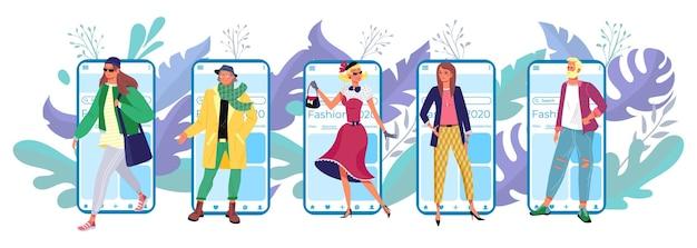 Aplicativo de celular de tecnologia moderna, personagem minúsculo da moda