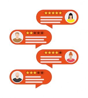 Aplicativo de classificação. discursos de bolha e avatares.