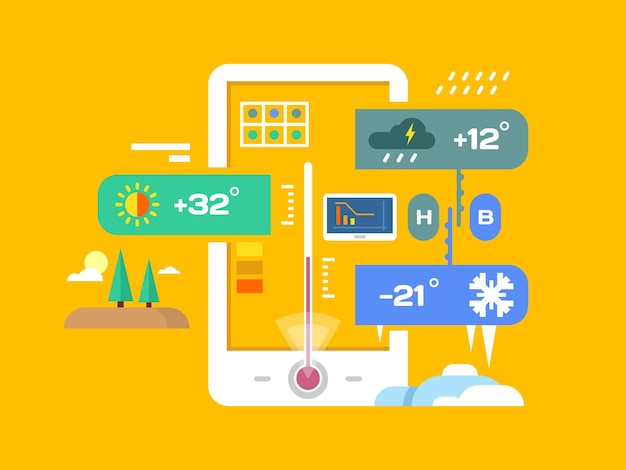 Aplicativo de clima. previsão e temperatura, smartphone e chuva, sol e meteorologia, ilustração vetorial plana