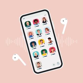 Aplicativo de clube de mídia social para aplicativo de bate-papo com áudio drop-in no smartphone. a tela do dispositivo com avatares de membros da comunidade. ilustração em estilo simples