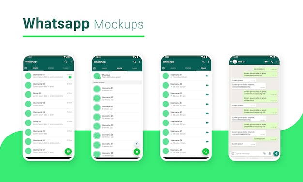 Aplicativo de compartilhamento de massagem de bate-papo do whatsapp ui mockup