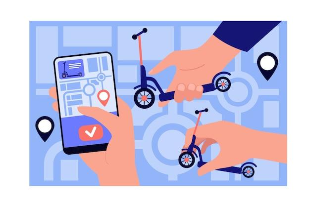 Aplicativo de compartilhamento de scooter público.