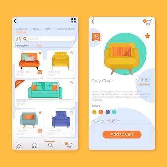 Aplicativo de compras de móveis