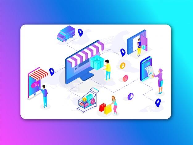 Aplicativo de compras on-line no computador e smartphone.