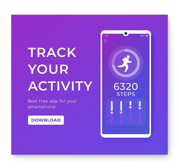 Aplicativo de condicionamento físico, rastreador de atividades para smartphone, pedômetro ou contador de passos
