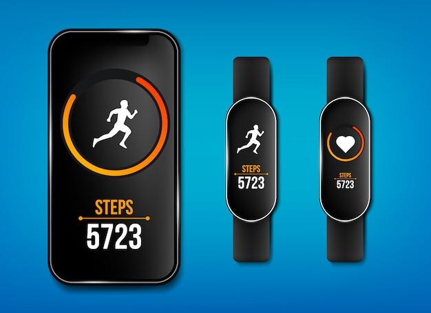 Aplicativo de corrida de telefone de contador de fitness, pulseira de pulseira