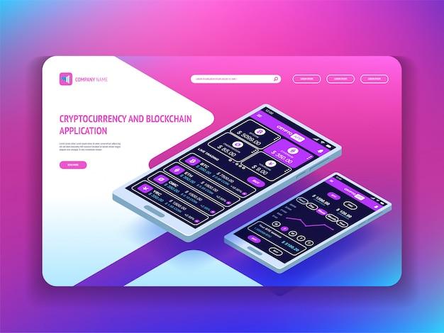 Aplicativo de criptomoeda e blockchain para smartphone. modelo de cabeçalho para o seu site. página de destino. ilustração isométrica