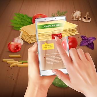 Aplicativo de culinária de tela de toque de realidade virtual aumentada para smartphone que reconhece ingredientes de lasanha, sugerindo composição realista de receita