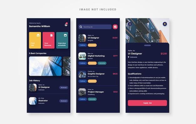 Aplicativo de design de pesquisa de empregos no modo escuro de design de interface do usuário