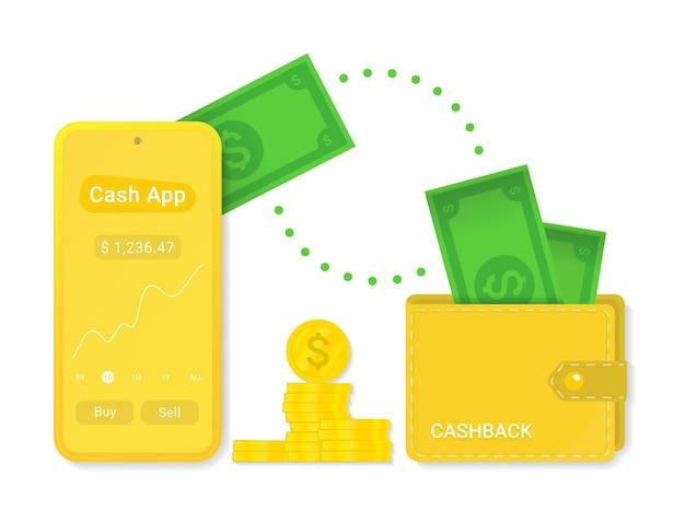 Aplicativo de dinheiro com símbolo de sinal de vetor de cashback isolado