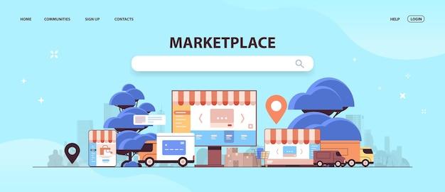Aplicativo de e-shop de mercado de comércio eletrônico on-line na plataforma de internet da tela do monitor para atacado de mercadorias