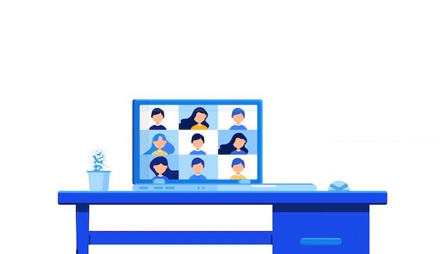 Aplicativo de educação digital online que aprende em todo o mundo no site do laptop. conceito de distanciamento social.