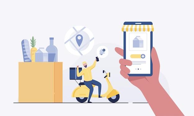 Aplicativo de entrega de fast food e entregador.