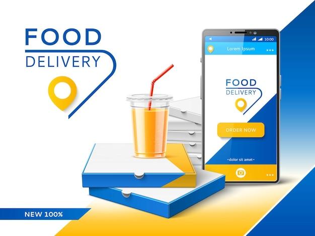 Aplicativo de entrega de telefone. banner de publicidade de serviço de transporte de fast food, correio de pizza de pedido on-line, negócio de restaurante e conceito de vetor de venda de internet móvel