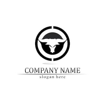 Aplicativo de ícones de modelos de logotipo e símbolo de chifre de touro e búfalo