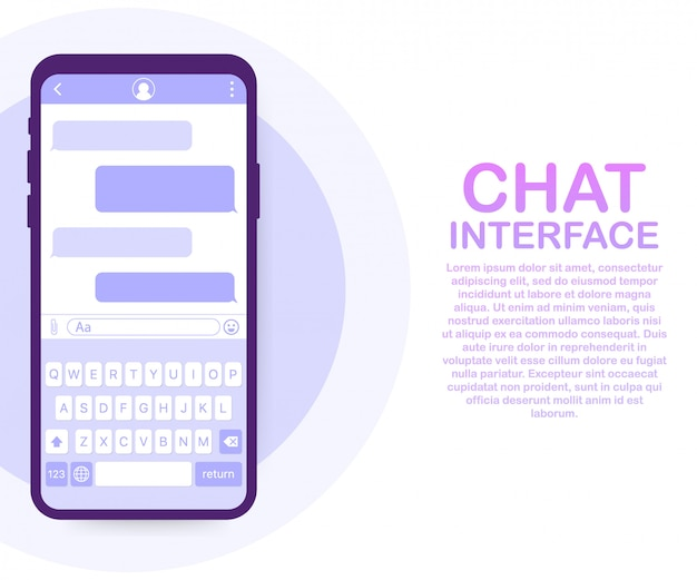 Aplicativo de interface de bate-papo com a janela de diálogo. conceito de design de interface de usuário móvel limpo. sms messenger. ilustração vetorial