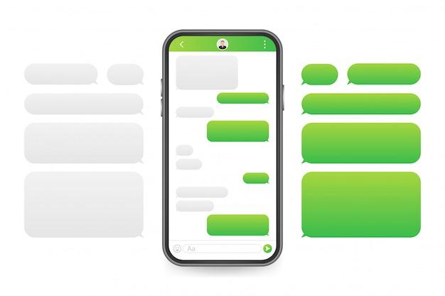 Aplicativo de interface de bate-papo com janela de diálogo. limpe o conceito de design de interface do usuário móvel. sms messenger. ilustração das ações.