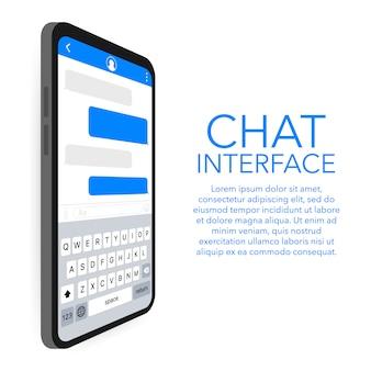 Aplicativo de interface de bate-papo com modelo de janela diálogo