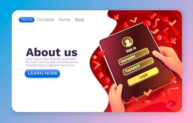 Aplicativo de janela de login, senha de login, nome de usuário, web design