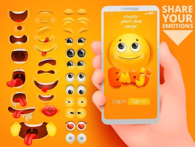 Aplicativo de kit de criação de emoji para o design do ícone de símbolo.