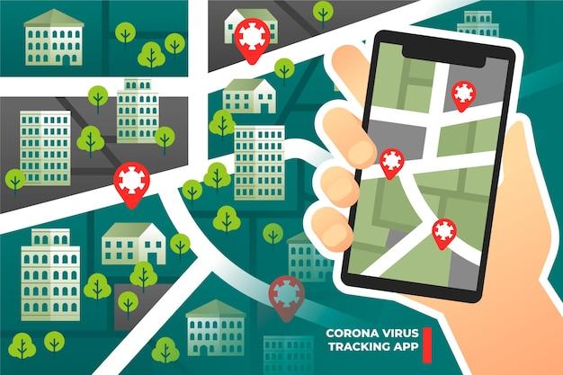 Aplicativo de localização de rastreamento de coronavirus - conceito