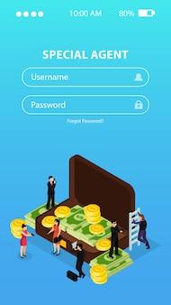 Aplicativo de login de telefone para agente especial