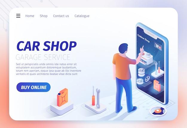 Aplicativo de loja de carros no modelo de página de destino do smartphone