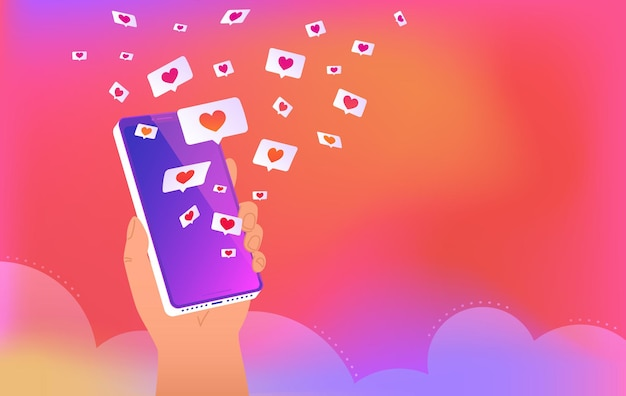 Aplicativo de mídia social com balões de fala e corações. a mão humana segura o smartphone e carrega muitos corações de mídia social e aplicativo de namoro. ilustração em vetor de balões de fala em fundo gradiente brilhante