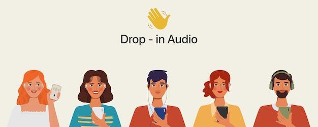 Aplicativo de mídia social de ilustração para aplicação de bate-papo com áudio no smartphone.