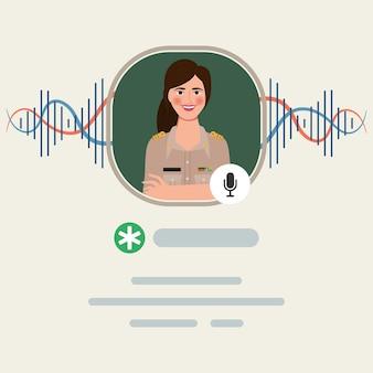 Aplicativo de mídia social para aplicação de bate-papo com áudio no smartphone. professor tailandês e personagem do governo.