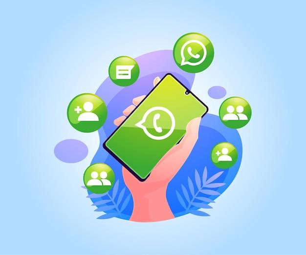 Aplicativo de mídia social whatsapp no smartphone