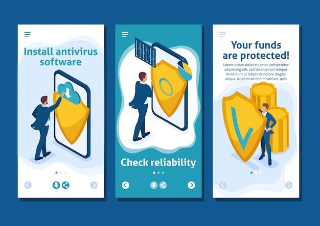 Aplicativo de modelo isométrico proteja seus fundos contra ameaças externas, roubo, aplicativos para smartphones