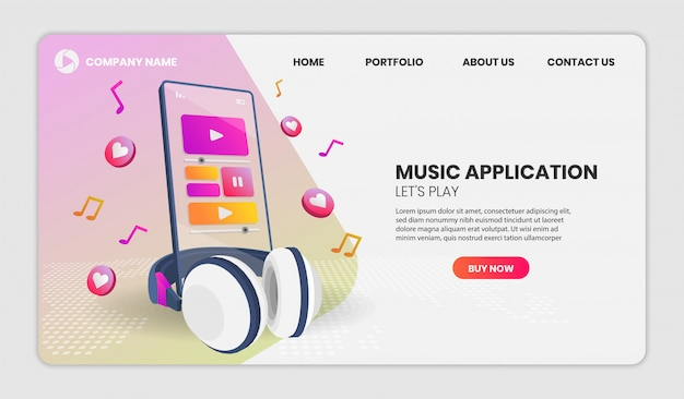 Aplicativo de música e telefone em vista em perspectiva. ilustração em vetor 3d.
