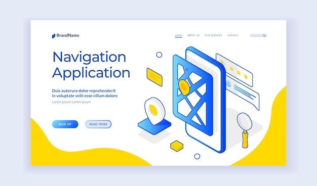 Aplicativo de navegação. banner isométrico da web sobre software de navegação móvel. aplicativo de smartphone para posicionamento global e sistema de rastreamento. modelo de página de destino