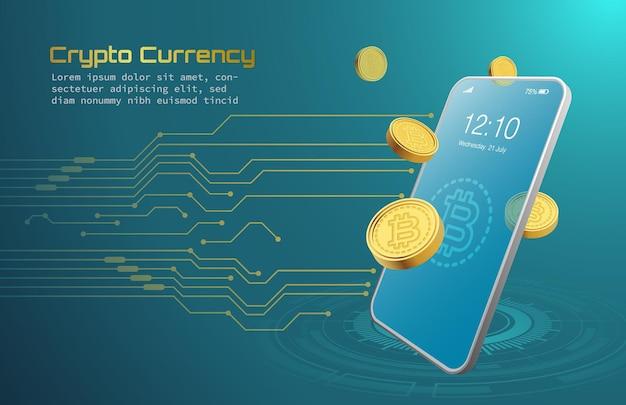 Aplicativo de negociação de aplicativo de criptomoeda bitcoin em fundo azul na troca de moeda