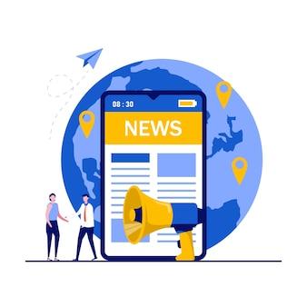 Aplicativo de notícias móvel, mídia digital mundial, conceito de press release de internet com personagens. pessoas em pé perto de um grande smartphone e lendo notícias online.
