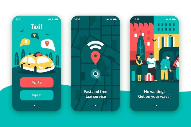 Aplicativo de onboarding de serviço de táxi para celular
