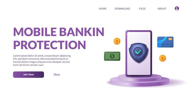 Aplicativo de pagamento bancário. conceito de pagamentos móveis, proteção de dados pessoais. ilustração vetorial fofa do telefone 3d no display do produto no pódio