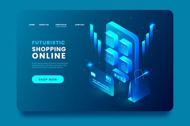 Aplicativo de página de destino on-line de compras isométrica