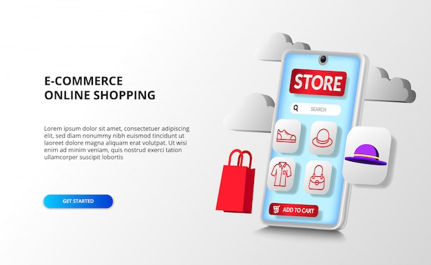 Aplicativo de perspectiva de smartphone 3d para conceito de compras online de e-commerce com ícone de contorno de moda com sacola de compras 3d e produto de chapéu